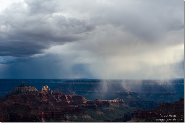 Storm crossing canyon from Lodge North Rim Grand Canyon National Park Arizona