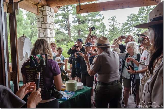 Gathering around cake Visitor Center porch North Rim Grand Canyon National Park Arizona