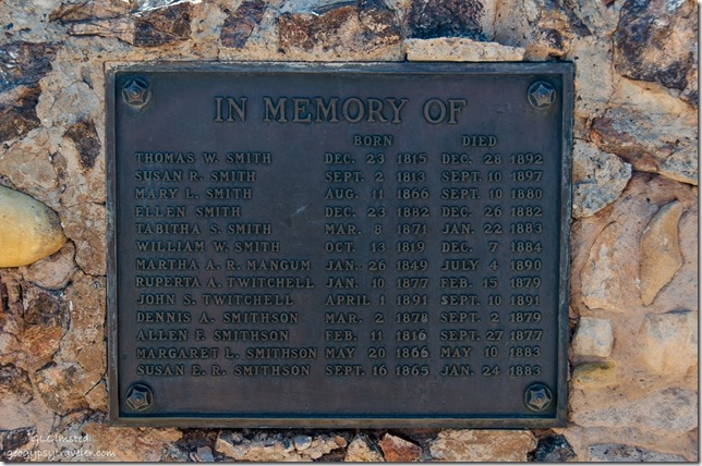 Memorial plaque Paria Cemetery Paria River Road Grand Staircase-Escalante National Monument Utah