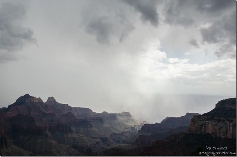 Storm crossing canyon North Rim Grand Canyon National Park Arizona