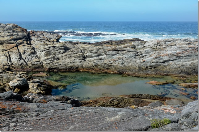 Tide pool in rocks & Indian Ocean Waterfall trail Tsitsikamma National Park South Africa