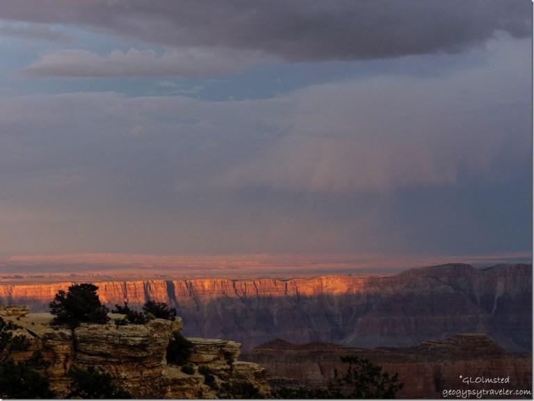 Last light on canyon walls from Cape Royal North Rim Grand Canyon National Park Arizona