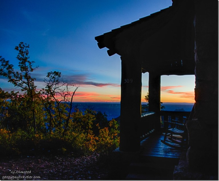 Sunset & cabin North Rim Grand Canyon National Park Arizona