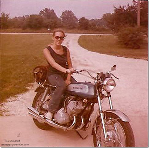 Gaelyn on Cletus' bike Downers Grove Illinois 1972