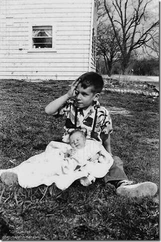 Gaelyn 3 wks old & brother April 1954 Spring Rd Hinsdale Illinois