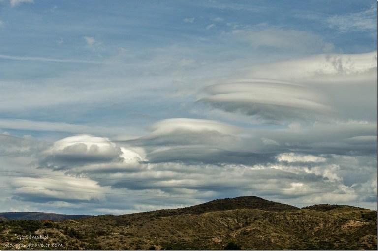 Lenticular clouds over hills North from RV Kirkland Arizona