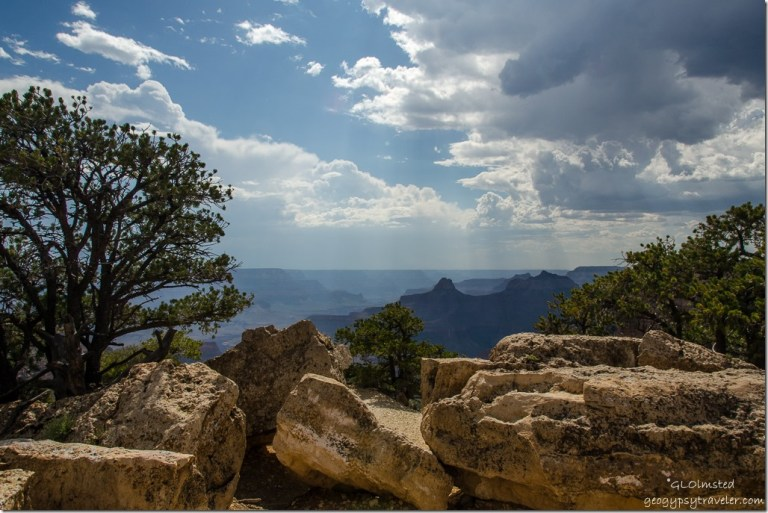 Rain cloud view West Cape Royal North Rim Grand Canyon National Park Arizona