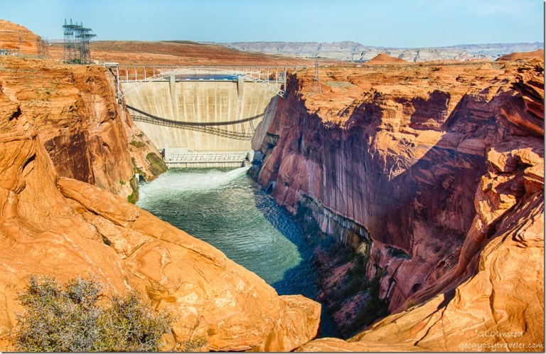 2-tube water release Glen Canyon Dam overlook Page Arizona