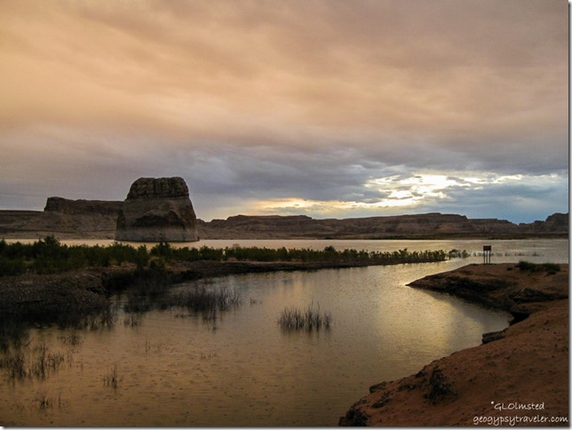 Stormy sunrise Lone Rock Lake Powell Utah