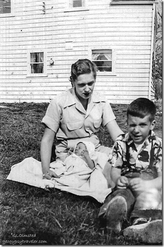 June Gaelyn 3 wks old & Hal April 1954 Spring Rd Hinsdale Illinois