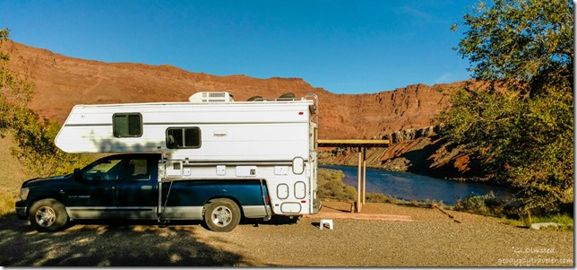 Truckcamper & Colorado River Lee's Ferry campground Glen Canyon National Recreation Area Arizona