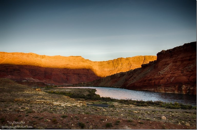 Last light Colorado River from Lee's Ferry campground Glen Canyon National Recreation Area Arizona
