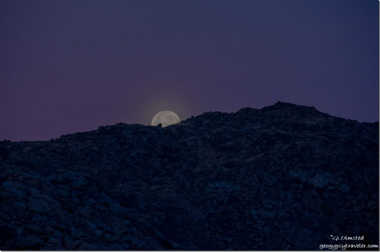 Super moon set Weaver Mountains Yarnell Arizona