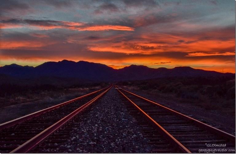Sunset railroad tracks Kirkland Arizona