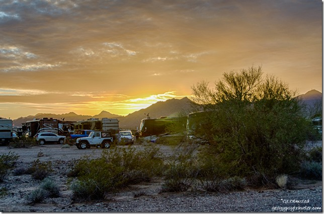 Sunset from camp La Paz Valley Road Quartzsite Arizona