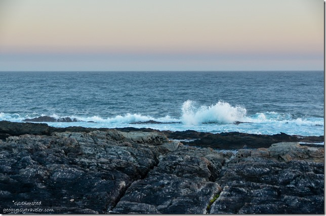 Sunset & crashing waves at Storms River Mouth Tsitsikamma National Park South Africa