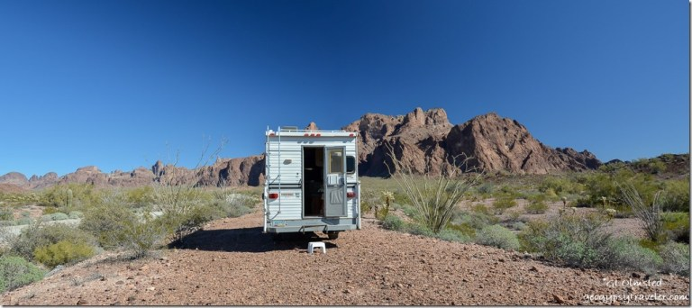 Truck camper Palm Canyon Road KOFA Mountains KOFA National Wildlife Refuge Arizona