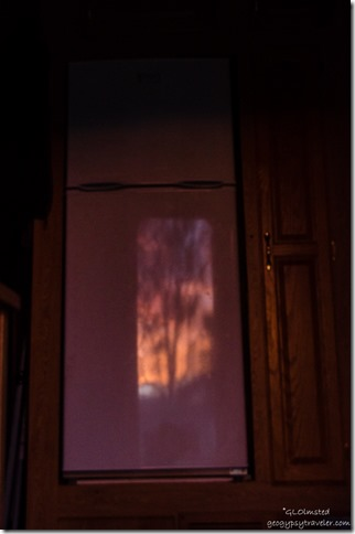 Sunset reflected fridge door Kirkland Arizona