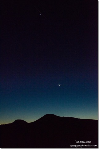 Venus & crescent moon Chocolate Mountains Arizona
