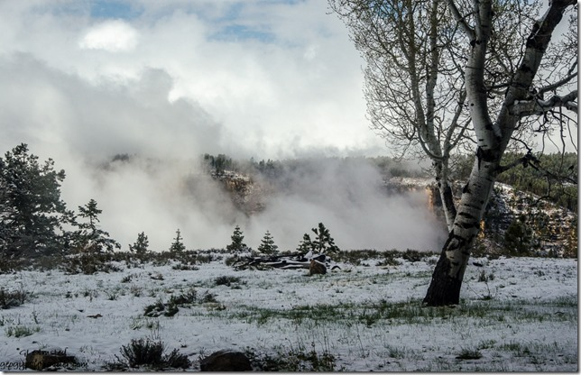 Snow & clouds in Transept Canyon thru RV window North Rim Grand Canyon National Park Arizona