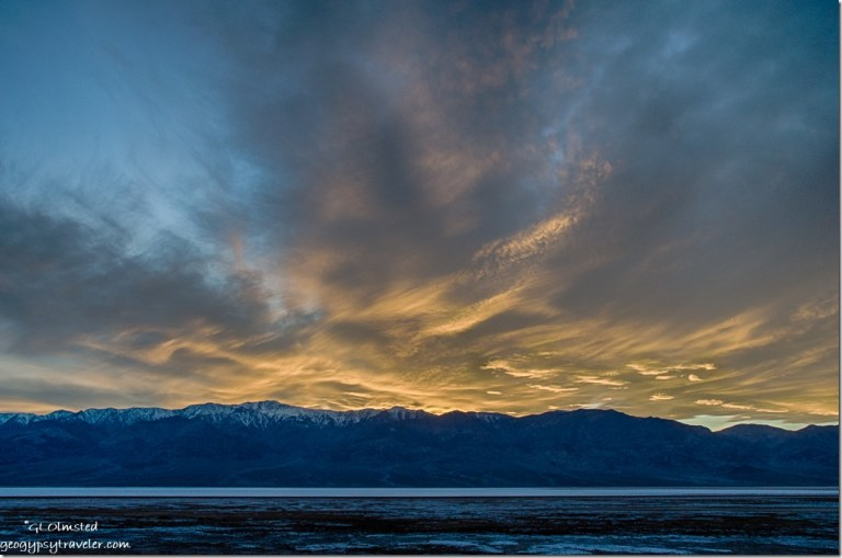 Sunset Panamint Range Badwater Basin Death Valley National Park California