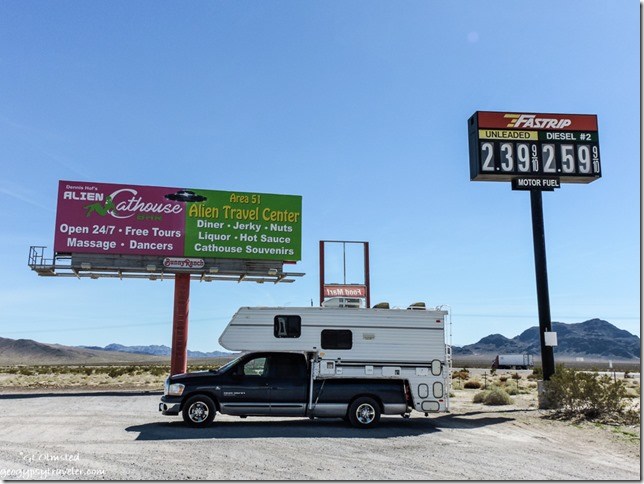 Truck camper & signs Area 51 Lathrop Nevada