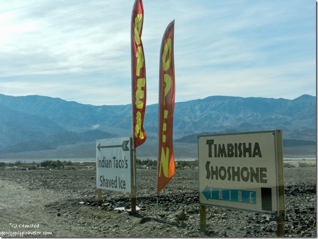 Timbisha Shoshone Village signs Death Valley National Park California