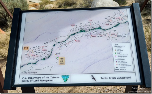 map Tuttle Creek campground Lone Pine California