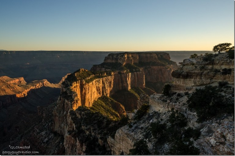 last light Wotans Throne Cape Royal North Rim Grand Canyon National Park Arizona
