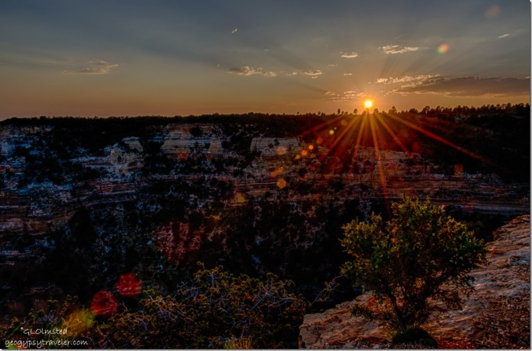 sunset crespuscular rays Wedding site Cape Royal North Rim Grand Canyon National Park Arizona