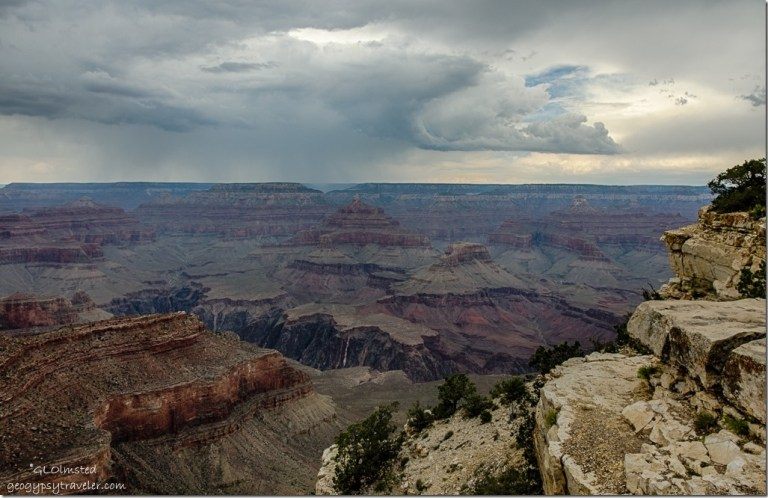 stormy sky West Rim trail South Rim Grand Canyon National Park Arizona