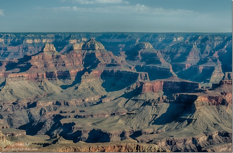 Zoroaster Brahma & Deva temples on North Rim from Grandview Point South Rim Grand Canyon National Park Arizona