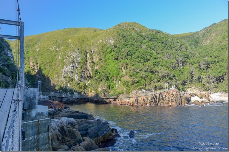 One bridge from another on Suspension Bridge trail at Storms River Mouth Tsitsikamma National Park South Africa