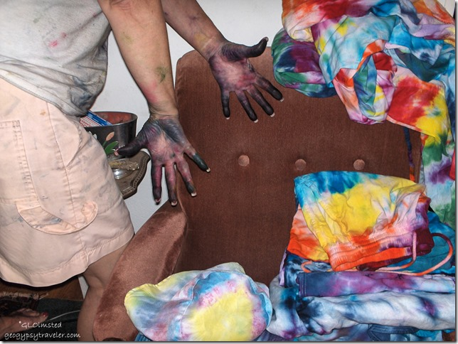 Patti's tie dyed hands Cave Junction Oregon