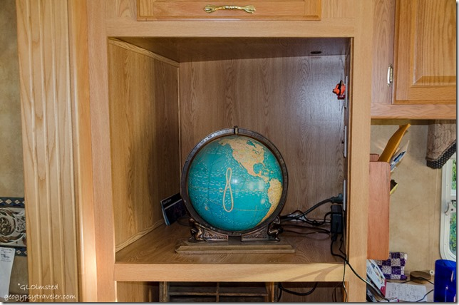 Atlas globe in RV Yarnell Arizona