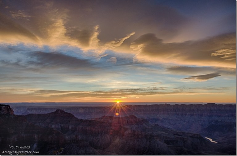 sunrise rays Cape Royal North Rim Grand Canyon National Park Arizona