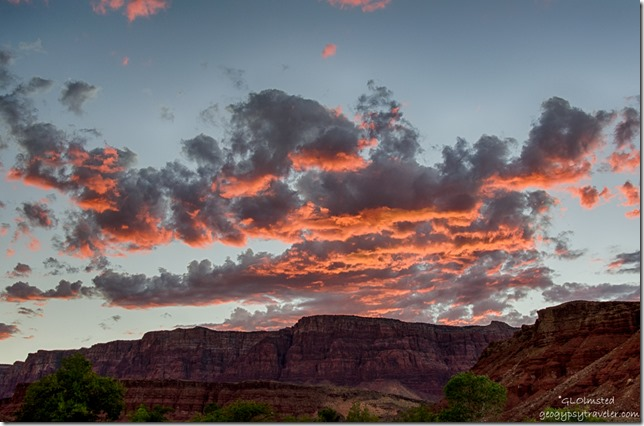 sunset Vermilion Cliffs from camp Lee's Ferry Glen Canyon National Recreation Area Arizona