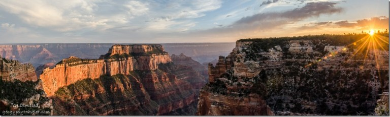 sunset Wotans Throne from Wedding site North Rim Grand Canyon National Park Arizona