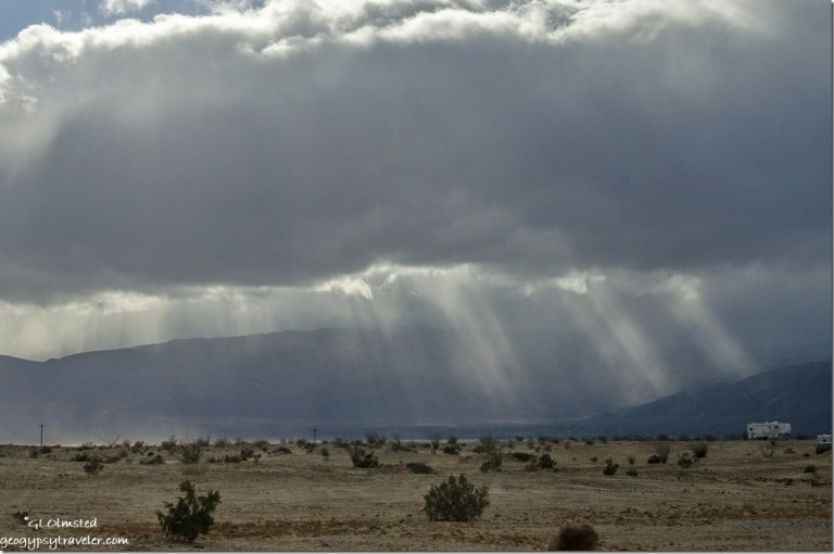 Sun rays Vallecito Mountains Anza-Borrego Desert State Park California