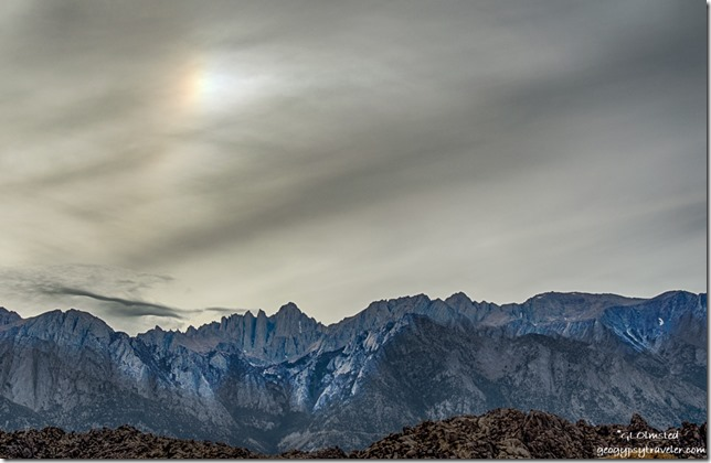 Eastern Sierras Mount Whitney sundog Alabama Hills California