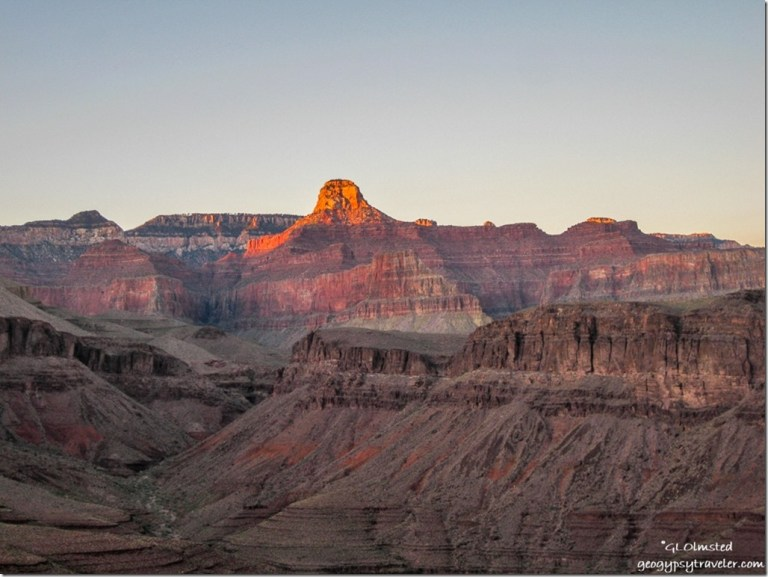 Sunset glow on Cheops Pyramid from Plateau Point Grand Canyon National Park Arizona