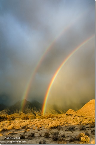 double rainbow low clouds Alabama Hills BLM Lone Pine California