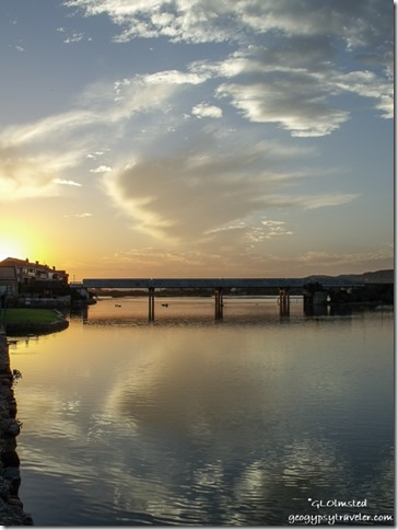 Sunset with reflection over river with bridge Riviera Hartenbos Garden Route Western Cape South Africa