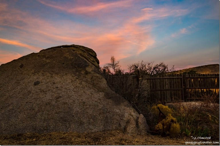 boulder fence sunset Berta's yard Yarnell Arizona
