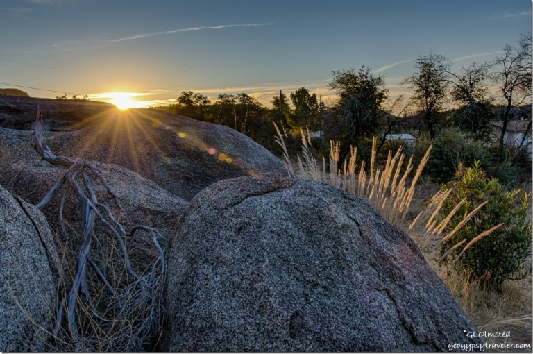 boulders grass sunrise Yarnell Arizona