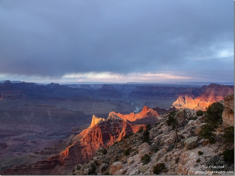 Last light & view Northeast from Lippan Point South Rim Grand Canyon National Park Arizona