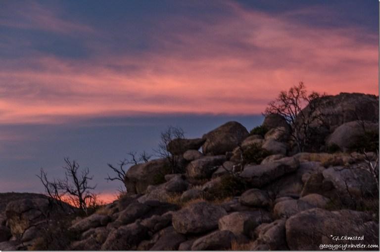 boulders sunset Yarnell Arizona