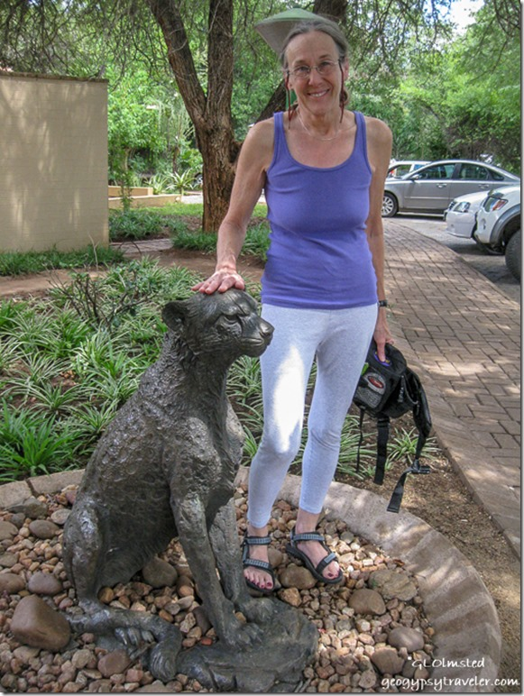 Gaelyn petting Cheetah statue Satari camp Kruger National Park Mpumalanga South Africa