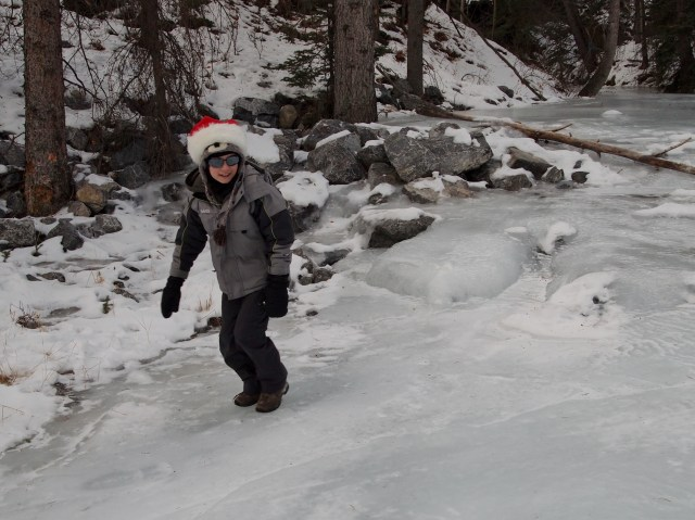 Youngest GeoK slides down the frozen Three Sisters Creek