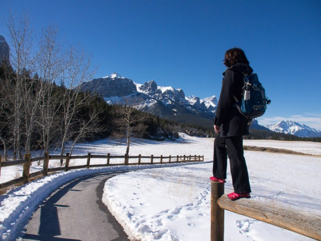 Mount Rundle from a paved pathway in Canmore